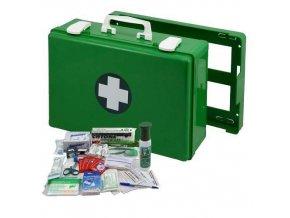 Plastový kufr první pomoci se stěnovým držákem, 27 x 40 x 14 cm, s náplní SKLAD