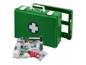 Plastový kufr první pomoci se stěnovým držákem, 27 x 40 x 14 cm, s náplní VÝROBA