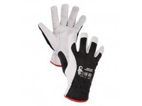 Kožené rukavice CXS, bílé/černé