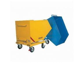 Pojízdné výklopné kontejnery se sítem a výpustným kohoutem, bez kapes na vysokozdvižný vozík, objem 400 l
