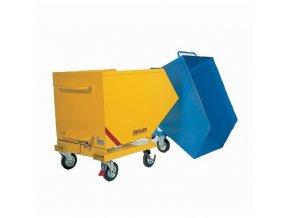 Pojízdné výklopné kontejnery se sítem a výpustným kohoutem, s kapsami na vysokozdvižný vozík, objem 250 l