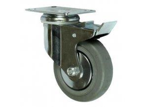 Gumová přístrojová kola s přírubou, průměr 100 - 125 mm, otočná s brzdou, valivá ložiska