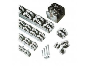Všesměrové kladičkové lišty, plast, šířka 28 mm, rozteč 100 - 200 mm
