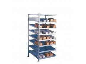 Kovové regály se šikmými policemi, přístavbové, 200 x 100 x 50 - 80 cm, 1 800 kg, 8 polic, stříbrné