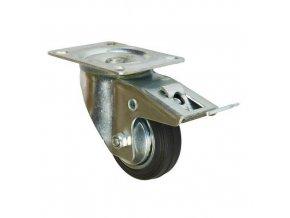 Gumová transportní kola s přírubou, průměr 80 - 200 mm, otočná s brzdou, valivá ložiska