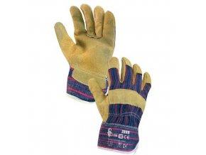 Kožené rukavice CXS, žluté/modré