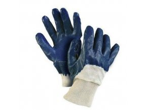 Bavlněné rukavice CXS polomáčené v nitrilu, modré/bílé