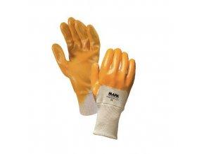 Bavlněné rukavice Mapa polomáčené v nitrilu, žluté/bílé