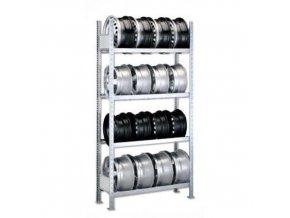 Regály na pneumatiky, základní, 250 x 100 - 150 x 30 cm, 4 patra