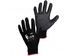 Polyesterové rukavice CXS polomáčené v polyuretanu, černé