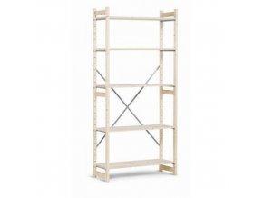 Dřevěné regály, základní, 209 x 97 x 30 - 50 cm, 5 polic, smrk