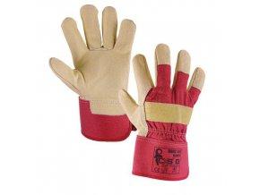 Kožené rukavice CXS, béžové/červené