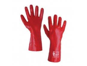 Bavlněné rukavice CXS máčené v PVC, červené