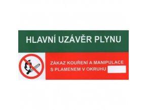 Informační bezpečnostní tabulky - Hlavní uzávěr plynu, Zákaz kouření a manipulace s plamenem