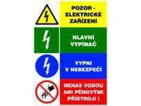 Informační bezpečnostní tabulky - Kombinace čtyř výstražných tabulek k elektrickému zařízeni