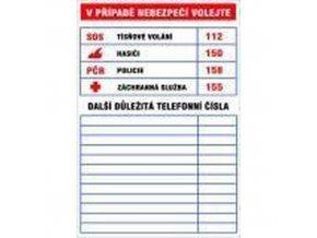 Informační bezpečnostní tabulky - Důležitá telefonní čísla