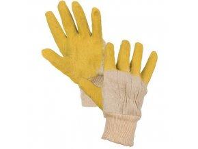 Bavlněné rukavice CXS polomáčené v latexu, žluté/bílé