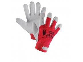 Kožené rukavice CXS, bílé/červené