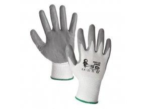 Polyesterové rukavice CXS polomáčené v nitrilu, šedé/bílé