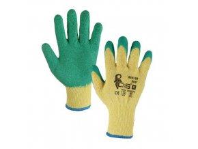 Polyesterové rukavice CXS polomáčené v latexu, zelené/žluté