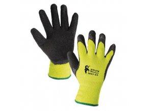 Zimní akrylové rukavice CXS polomáčené v latexu, žluté/černé