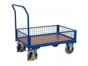 Plošinové vozíky s madlem a nízkými mřížovými bočnicemi, do 500 kg