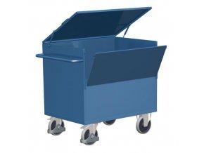 Uzavíratelné skříňové vozíky s madlem a plnými stěnami, do 500 kg, 2 sklopné stěny
