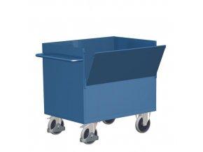Skříňové vozíky s madlem a plnými stěnami, do 500 kg, 1 sklopná stěna