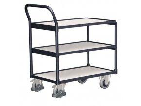 Antistatické policové vozíky s madlem, do 250 kg, 3 police