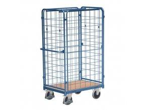 Vysoké policové vozíky s madlem a mřížovými bočnicemi, do 500 kg, 1 police