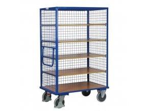 Vysoké skříňové vozíky s madlem a mřížovými stěnami, do 500 kg, 5 polic