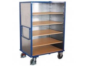 Vysoké skříňové vozíky s madlem a plnými stěnami, do 500 kg, 5 polic