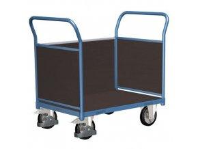 Plošinové vozíky se dvěma madly s plnou výplní a boční stěnou, do 1 000 kg