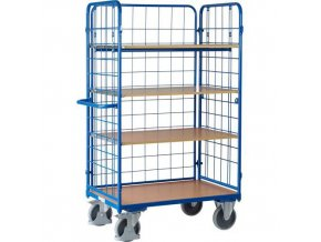Vysoké policové vozíky s madlem a mřížovými bočnicemi, do 500 kg, 4 police