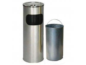 Kovové odpadkové koše s popelníkem, objem 11,5 l
