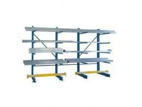 Oboustranný konzolový regál, přístavbový 350 x 120 x 100 - 200 cm, 2 500 - 4 500 kg, 8 konzolí