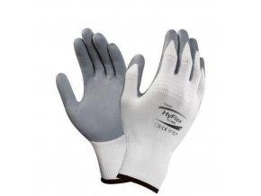 Nylonové rukavice Ansell polomáčené v nitrilu, šedé/bílé