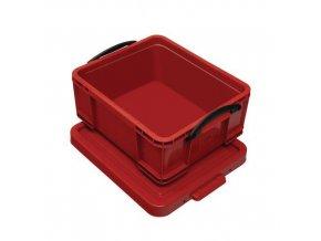 Plastové úložné boxy s víkem na klip, červené