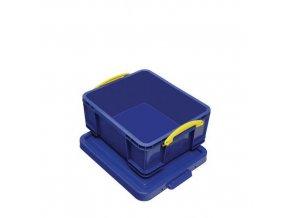 Plastové úložné boxy s víkem na klip, modré