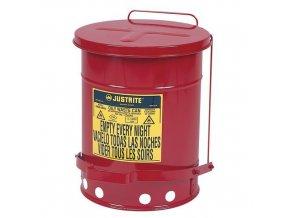 Kovové odpadkové koše pro hořlavé a nebezpečné látky Justrite, objem 23 l