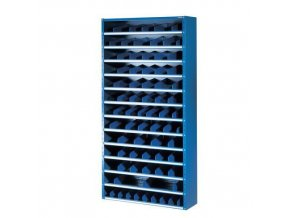 Kovové regály s děliči, 198 x 100 x 20 - 40 cm, 12 polic, modré