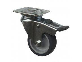 Gumová přístrojová kola s přírubou, průměr 60 - 100 mm, otočná s brzdou, kluzná ložiska