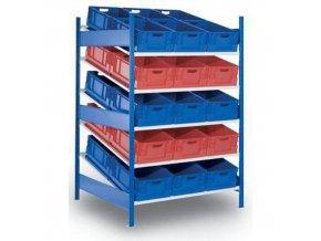 Kovový regál se šikmými policemi, přístavbový, 200 x 130 x 120 cm, 1 200 kg, 5 polic, modrý