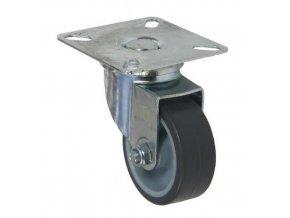 Gumová přístrojová kola s přírubou, průměr 50 - 125 mm, otočná, kluzná ložiska