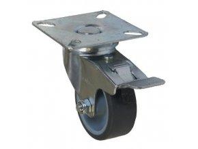 Gumová přístrojová kola s přírubou, průměr 50 - 125 mm, otočná s brzdou, kluzná ložiska