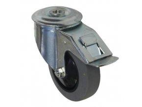 Antistatická gumová přístrojová kola se středovým otvorem, průměr 80 - 125 mm, otočná s brzdou, kuličková ložiska