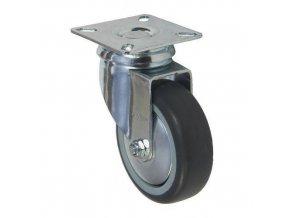 Gumová přístrojová kola s přírubou, průměr 50 - 100 mm, otočná, kluzná ložiska