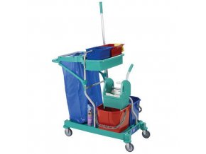 Úklidový vozík s pákovým ždímačem, objem 2 x 15 l + 2 x 6 l