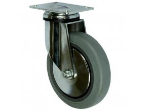 Gumová přístrojová kola s přírubou, průměr 125 mm, otočná, valivá ložiska