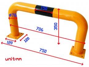 Kovová zábrana Manu, nízká, délka 75 cm